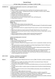 Associate Research Analyst Resume Samples Velvet Jobs