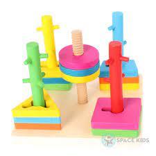 Đồ chơi gỗ thông minh tháp thả hình khối vào cột cho bé (4 hình khối c –  Space Kids