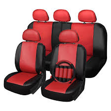 oxgord faux leather 1st 2nd row red black seat cover set