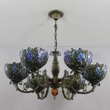 6 light leaves tiffany style handmade glass shade chandelier in bronze