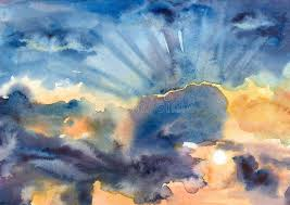 watercolor painting background sunset orange sky with storm blue clouds and rays of the sun