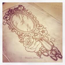 hand held mirror drawing. ornate handheld mirror tattoo. hand held drawing r