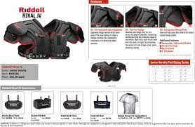 Riddell Shoulder Pad Size Chart Sppss Riddell Varsity Junior Varsity Youth Shoulder Pads