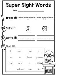 Pre Primer Dolch Cute Dolch Pre Primer Sight Word Practice Worksheets For Kindergarten