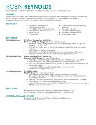 Exceptional Resume Examples Unforgettable Hvac And Refrigeration Resume Examples To