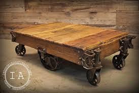 industrial furniture wheels. Vintage Industrial 6 Wheel Factory Rail Yard Rocker Cart Coffee Table Furniture Wheels S