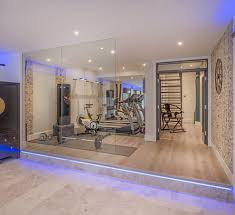 Home Gym Lighting Ideas Basement Gym Ideas Home Contemporary With Mirrored Wall