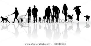 Vector Illustration Of People Walking Their Dogs Vector Clip Art