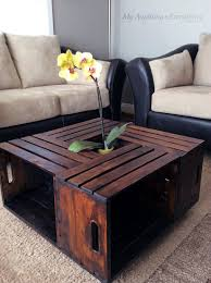 ... Coffee Table, Astounding Brown Square Modern Wood DIY Crate Coffee Table  With Storage Designs To ...