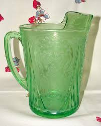 hazel atlas royal lace in green pitcher and glasses