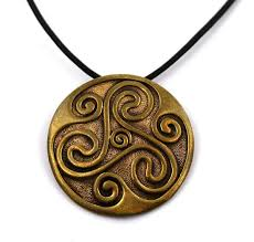 com bronze engraved celtic knot triskelion norse pendant necklace leather cord 18 32 inches thailand jewelry jewelry