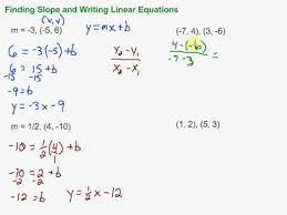 finding slope and writing linear