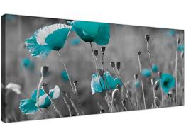 >wallfillers large canvas pictures of teal flowers and grey pebbles  wallfillers modern black and white canvas prints of teal poppies wide turquoise floral wall art