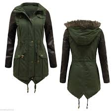 new las womens faux leather pvc sleeve fur hooded military parka jacket coat