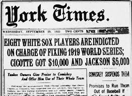 the world series and the story of the chicago black sox  it took a year for a grand jury to begin their investigation against the white sox who at the time were playing the cleveland ns for the american