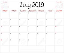 Year 2019 July Planner A Monthly Planner Calendar For July