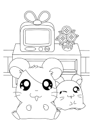 Living Room Coloring Hamtaro Coloring Pages