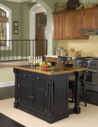 Classic Kitchen Area With Black Wooden Back Chair Seating Small Kitchen  Island, Light Brown Suede