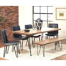 a line furniture buffalo rustic hairpin designed dining set with brown upholstered chairs 5 piece sets