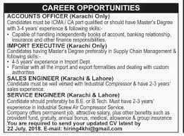 Accounts Officer, Import Executive, Sales Engineer, Service Engineer ...