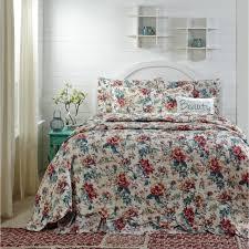 isabella 100 cotton fl queen quilt 3 pc set flowered quilted bedspread