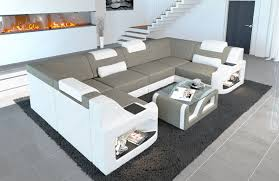 Details About Fabric Sectional Sofa Manhattan U Designer Couch With Led Light