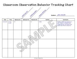 Freebie Behavior Tracking Chart For Classroom Observations