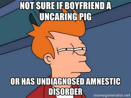 nOT SURE IF bOYFRIEND A UNCARING PIG OR HAS UNDIAGNOSED AMNESTIC ... via Relatably.com