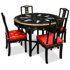 black lacquer dining room furniture. chinese lacquered round table and chairs 48in black lacquer dining with 4 room furniture
