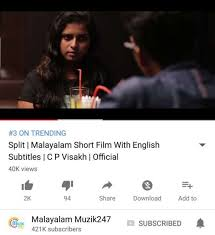 Malayalam Short Film 'Split' Trends In YouTube With 40k Views Unique Breakup Malayalam