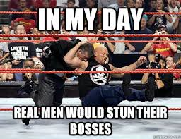 In My Day Real Men Would Stun Their Bosses - Stone Cold Stunner ... via Relatably.com