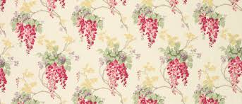 Curtain Fabric Wisteria Floral Cranberry Cotton Linen Mix Curtain Fabric At Laura
