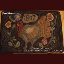 primitive gobbler hooked rug pattern