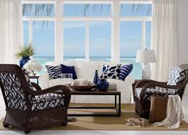 white coastal furniture. Living Rooms:Beautiful Coastal Room With Wicker Armchairs And White Sofa Also Small Coffee Furniture