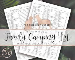 Equipment Checklist Enchanting Pet Friendly Camping Checklist Minimalist Camping Equipment Etsy