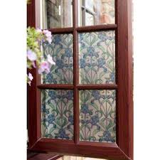 minster iris blue 17 in x 78 in stained glass self adhesive