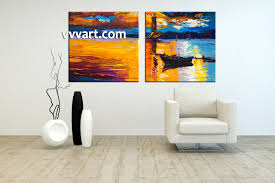 Living Room Canvas Paintings 2 Piece Mountain Boat Ocean Orange Large Pictures