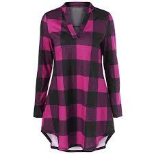 Ilh Fashion New Women V Neck Long Plaid Shirt Long Sleeve Plus Size Grid Casual Top Blouse Dress