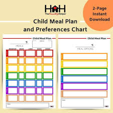 Toddler Meal Plan Chart Child Meal Planner And Food Preferences Chart Home Management Planner Printables Toddler Meal Plan Food Planner Meal Plan