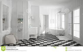 Skandinavisches Unbedeutendes Weißes Und Graues Badezimmer Dusche