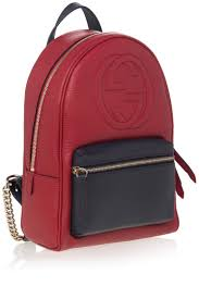 red soho leather chain backpack