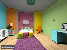 Rainbow bedroom. multi-colored walls. colorful home decor.