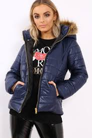 more views navy shiny puffer coat with fur hood