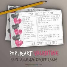 valentine pop hearts 4x6 recipe cards