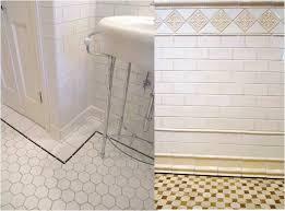 bathroom subway tile floor. Floor Tile: White Subway Wall Tile, Black Trimming And A Hexagon Tile. Bathroom Tile L