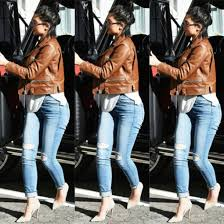 jacket leather jacket ripped jeans heels cute outfits kylie jenner
