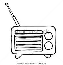 radio clipart black and white. radio / cartoon vector and illustration, black white, hand drawn, sketch style clipart white