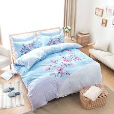 light blue comforter set fl print light blue bedding set queen size cotton fabric bed light blue comforter
