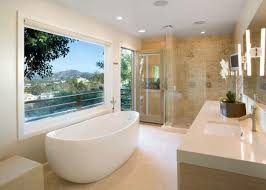 modern bathroom design. Contemporary Bathroom Features Freestanding Tub \u0026 Shower For Two Modern Bathroom Design HGTV.com