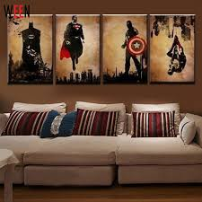 modern wall art 4 pieces superhero hand painted canvas oil paintings modern abstract